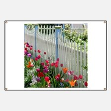 Tulips Garden along White Picket Fence 2 Banner