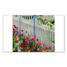 Tulips Garden along White Picket Fence 2 Decal