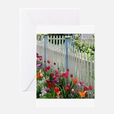 Tulips Garden along White Picket Fence 2 Greeting