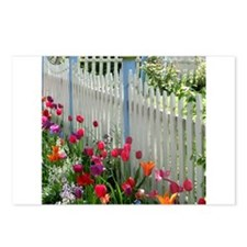 Tulips Garden along White Picket Fence 2 Postcards