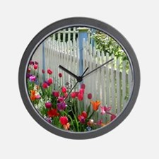 Tulips Garden along White Picket Fence 2 Wall Cloc