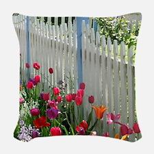 Tulips Garden along White Picket Fence 2 Woven Thr