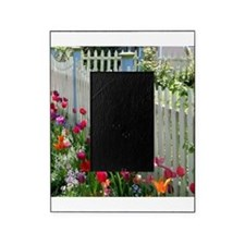 Tulips Garden along White Picket Fence 2 Picture Frame
