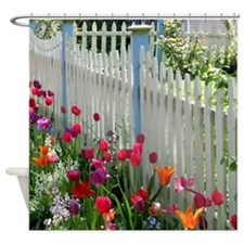 Tulips Garden along White Picket Fence 2 Shower Cu