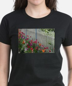 Tulips Garden along White Picket Fence 3 T-Shirt