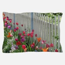 Tulips Garden along White Picket Fence 3 Pillow Ca