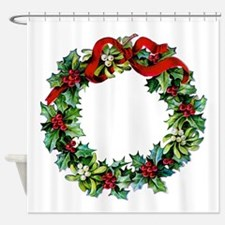 Holly Christmas Wreath Shower Curtain