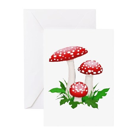 Red Mushrooms Greeting Cards (Pk of 10)