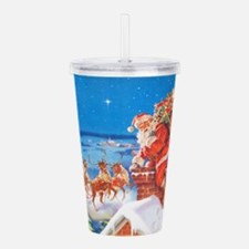 Santa Up On the Roofto Acrylic Double-wall Tumbler