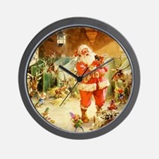 Santa in the North Pole Stables Wall Clock