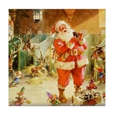 Santa in the North Pole Stables Tile Coaster