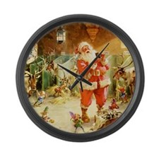 Santa in the North Pole Stables Large Wall Clock
