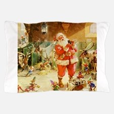 Santa in the North Pole Stables Pillow Case