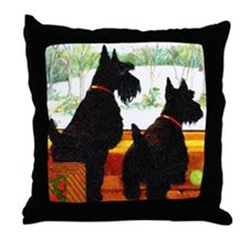 A Scottie Christmas Throw Pillow