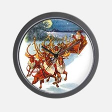 Santa & His Flying Reindeer Wall Clock