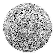 Shiny Metallic Tree of Life Yin Yang Round Car Mag