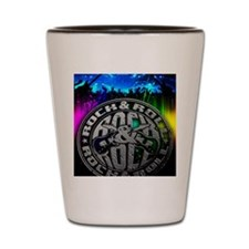rock n roll poster Shot Glass
