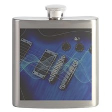 blue electric guitar Flask