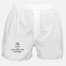 Keep Calm by focusing on Farming Boxer Shorts