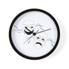 Theater Masks Wall Clock