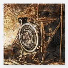 "Antique Old Photo Camera Square Car Magnet 3"" x 3"""
