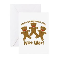 Gingerbread Men Not War Greeting Cards (Package of