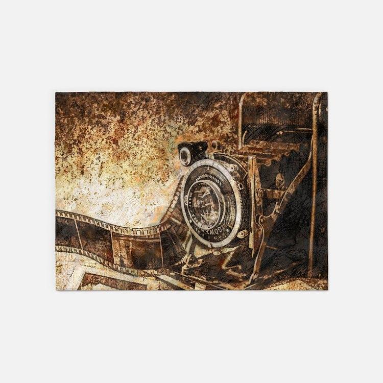 Antique Old Photo Camera 5'x7'Area Rug