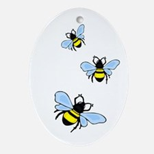 Bumble Bees Oval Ornament
