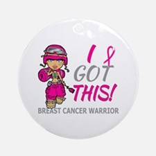 Combat Girl 2 Breast Cancer HotPi Ornament (Round)