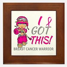 Combat Girl 2 Breast Cancer HotPink Framed Tile
