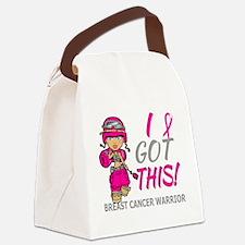 Combat Girl 2 Breast Cancer HotPi Canvas Lunch Bag