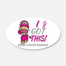 Combat Girl 2 Breast Cancer HotPin Oval Car Magnet