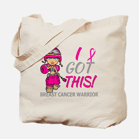 Combat Girl 2 Breast Cancer HotPink Tote Bag