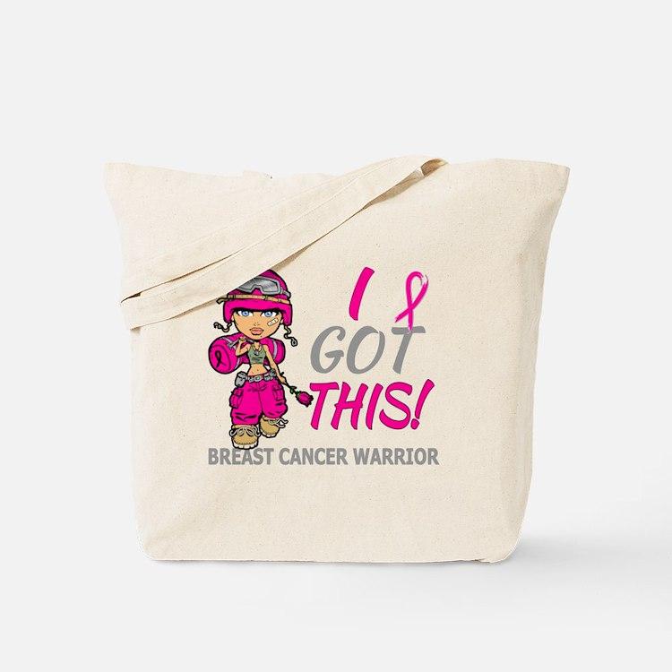 Combat Girl 2 Breast Cancer HotPink Tote Bag