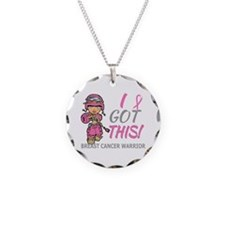 Combat Girl 2 Breast Cancer Necklace Circle Charm