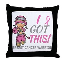 Combat Girl 2 Breast Cancer Pink Throw Pillow