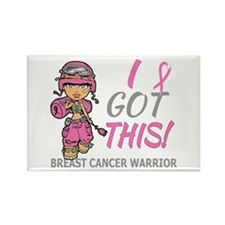 Combat Girl 2 Breast Cancer Pink Rectangle Magnet