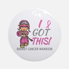 Combat Girl 2 Breast Cancer Pink Ornament (Round)