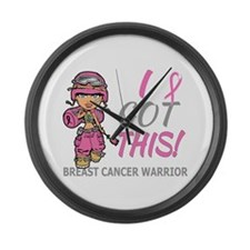 Combat Girl 2 Breast Cancer Pink Large Wall Clock