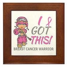 Combat Girl 2 Breast Cancer Pink Framed Tile