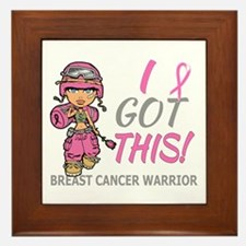 Combat Girl 2 Breast Cancer Pink Framed Tile