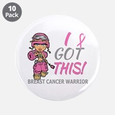 """Combat Girl 2 Breast Cancer 3.5"""" Button (10 pack)"""
