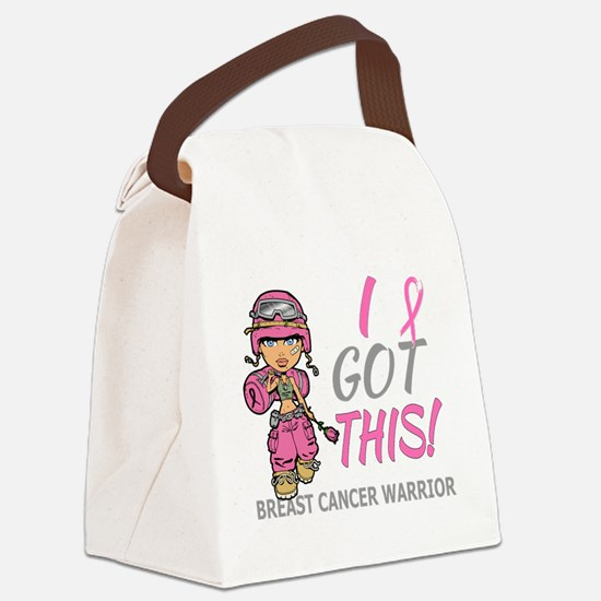 Combat Girl 2 Breast Cancer Pink Canvas Lunch Bag