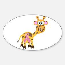 Pink Awareness Ribbon Giraffe Oval Decal