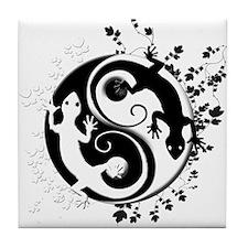 Black & White Gecko Yin-Yang Tile Coaster
