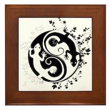 Black & White Gecko Yin-Yang Framed Tile