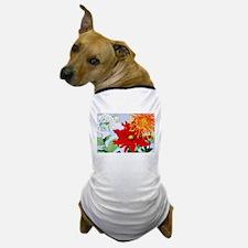 Dahlias! Japanese Woodcut Dog T-Shirt