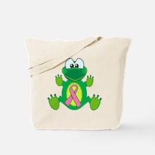 Pink Awareness Ribbon Frog Tote Bag