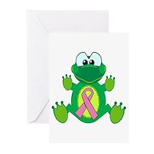 Pink Awareness Ribbon Frog Greeting Cards (Package