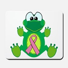 Pink Awareness Ribbon Frog Mousepad